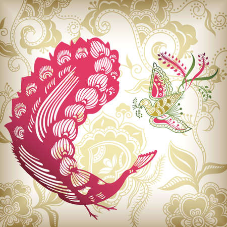 Floral and Peacock Vector