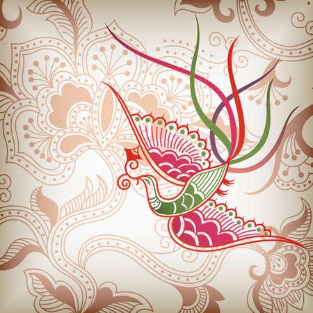 oriental style: Oriental Floral and Bird Illustration