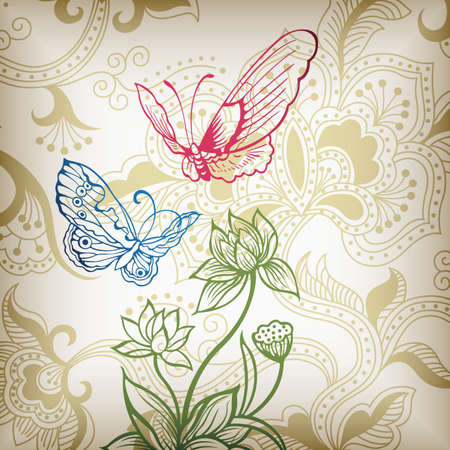 Oriental Floral and Butterfly Vector