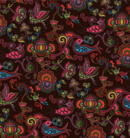 bird pattern: Oriental Floral and Bird Pattern 4