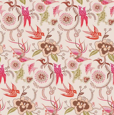 swallow: Oosterse bloemen en Bird patroon 3