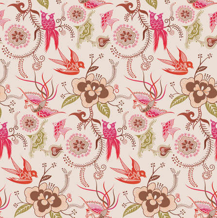 Oriental Floral and Bird Pattern 3 Vector