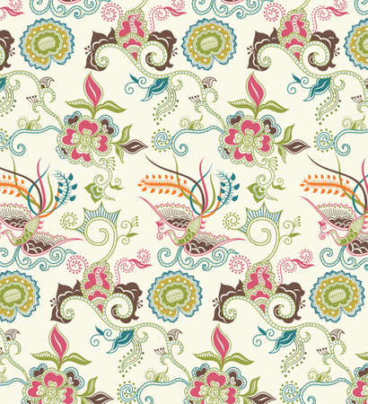 Oriental Floral and Bird Pattern 1 Vector