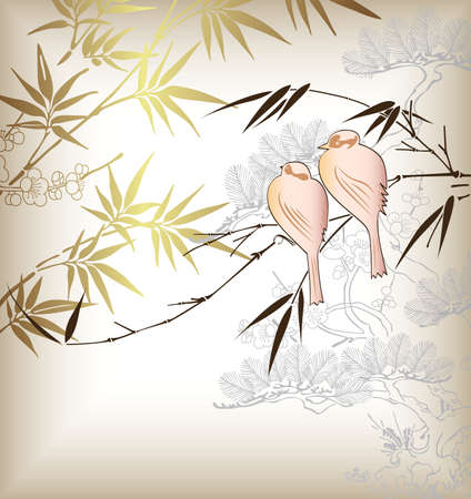 Oriental Bamboo and Bird 4 Vector