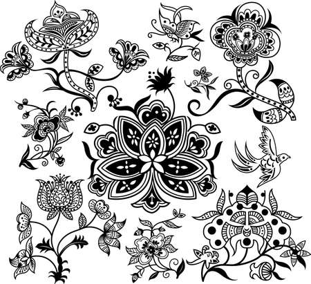 Abstract Floral Design Elements 2 Vector
