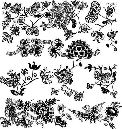flores vintage: Abstract Floral Design Elements 1