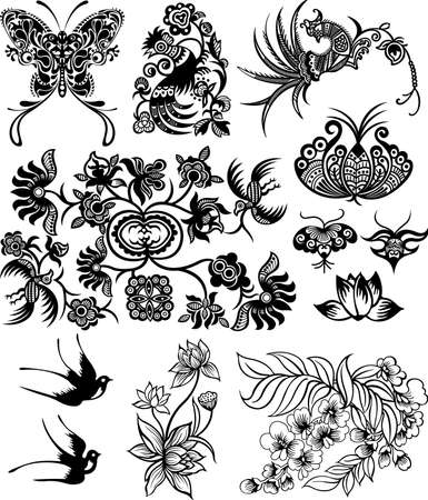 golondrina: Resumen Floral Design Elements 4 Vectores