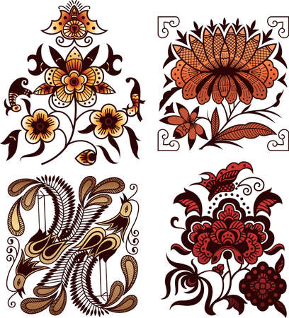 Oriental Floral and Bird 1 Vector