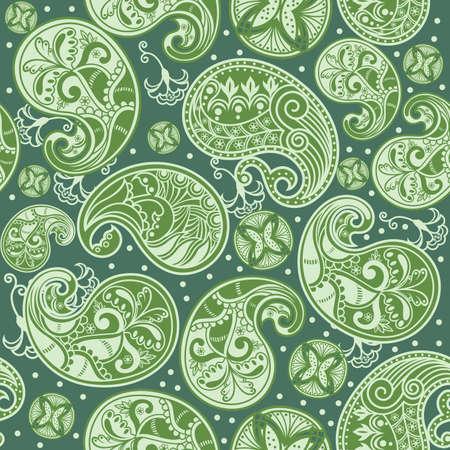motif cachemire: Green Paisley seamless pattern