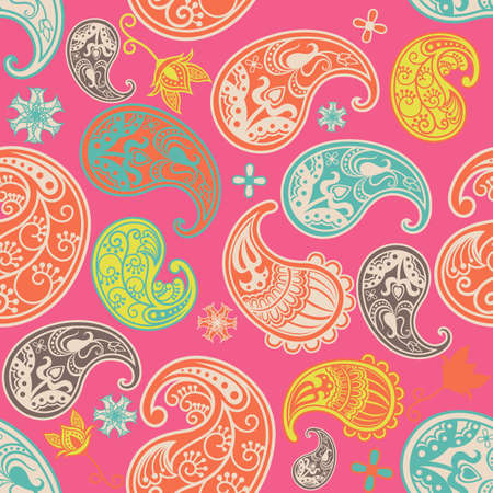 Pink Paisley Pattern SEAMLESS Vector