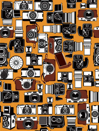 black and white photography: Retro Camera Illustration