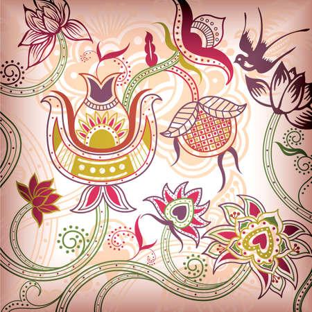 golondrina: Bird Floral abstracto Vectores