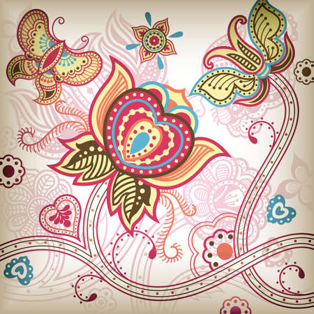 flores chinas: Vector de Abstract Butterfly Floral.