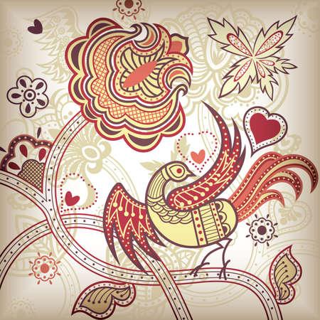Vector of Abstract Floral Bird.