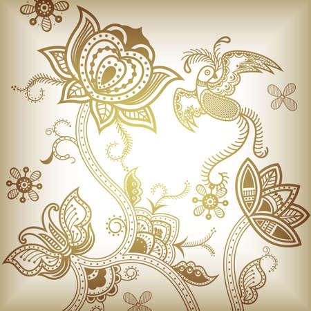 Abstract Floral Bird Vector