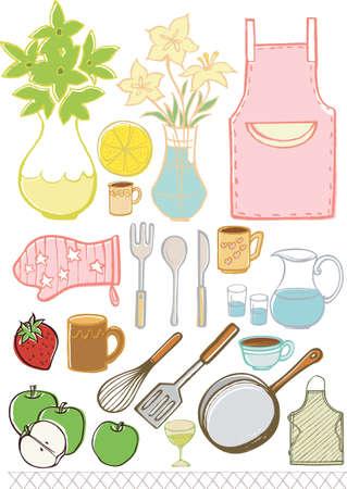 Keukengerei design elementen isoleren op wit.