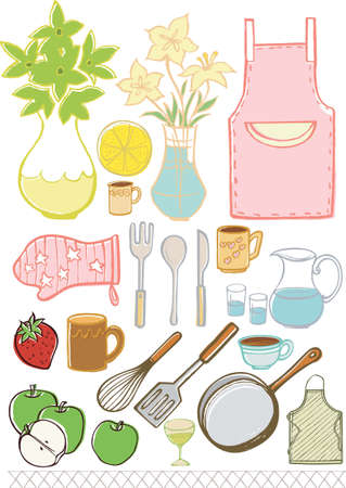 Kitchenware Design Elements isolate on white. Vector