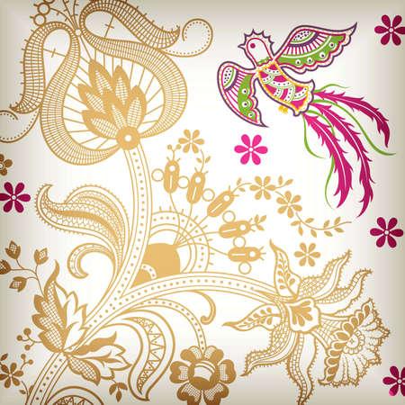Abstract Floral and Bird Quetzal Vector