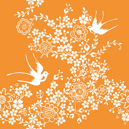 Asia Floral and Bird SEAMLESS Pattern