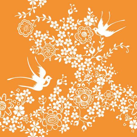 orientalische muster: Asien Floral und Bird nahtlos Pattern  Illustration