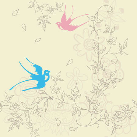 swallows: Asia Floral and Bird SEAMLESS Pattern