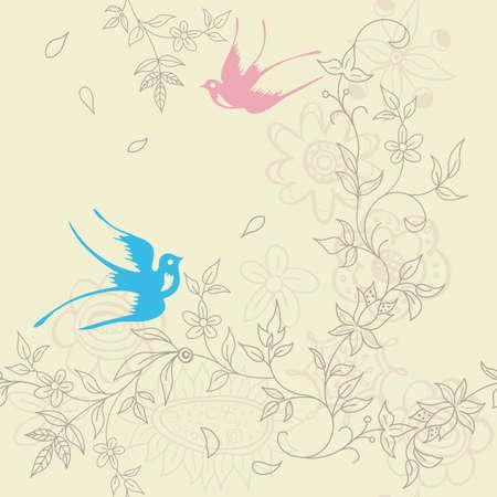 golondrina: Asia Floral y Bird patr�n transparente