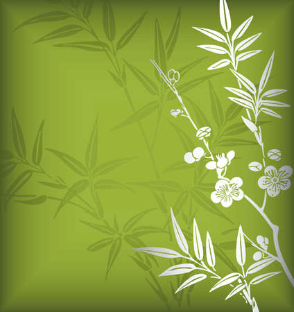 Bamboo and Blossom 4 Vector