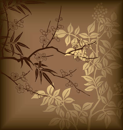 Bamboo and Blossom 3 Vector