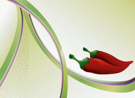 Abstract Curve Floral Background with Chili Vector