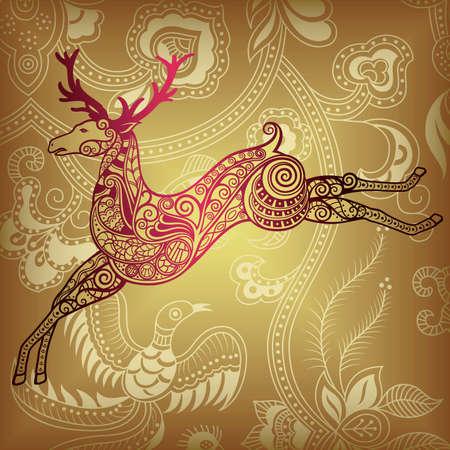 Floral and Deer