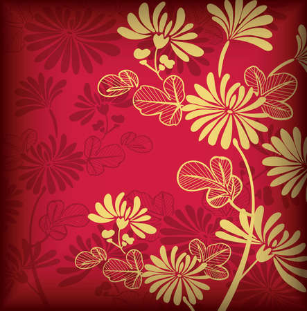 Asia Floral Background for Holidays Vector