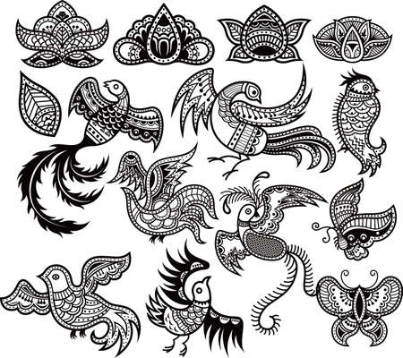 Abstract Floral and Bird Design Elements 1 Stock Vector - 6934781