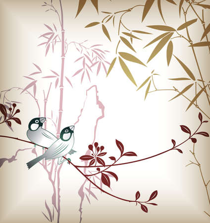 Bamboo Leaf and Bird 4 Vector