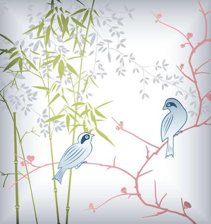 Bamboo Leaf and Bird 3 Vector