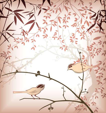 Feuille de bambou et oiseaux 2  Vecteurs