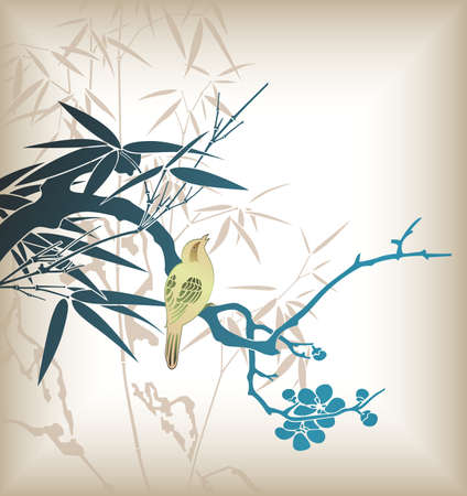 Bamboo Leaf and Bird 1 Vector