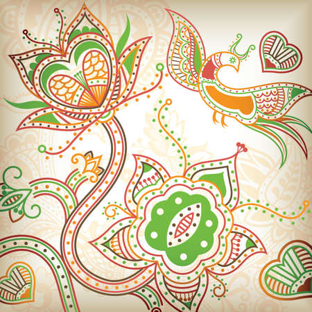 Floral Abstract and Bird 5 Vector