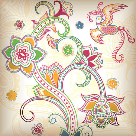 Floral Abstract and Bird 2 Vector
