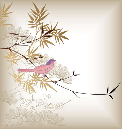 Oriental Bamboo Tree and Bird 3 Vector