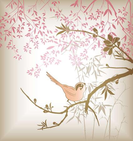 Oriental Bamboo Tree and Bird 2 Vector