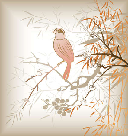 Oriental Bamboo Tree and Bird 1 Vector