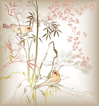 Feuille de bambou oriental et oiseaux 6  Vecteurs