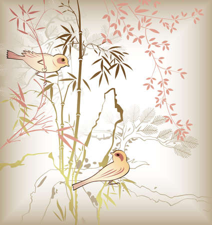 Oriental Bamboo Leaf and Bird 6 Vector