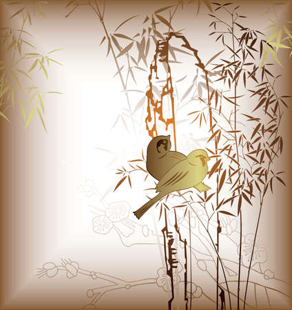 Oriental Bamboo Leaf and Bird 5