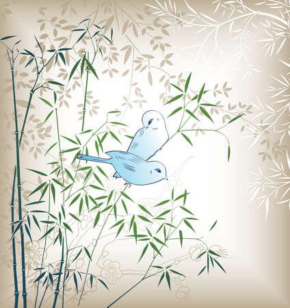 feuille de bambou: Feuille de bambou oriental et oiseaux 4  Illustration