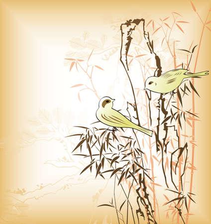 feuille de bambou: Feuille de bambou oriental et oiseaux 2