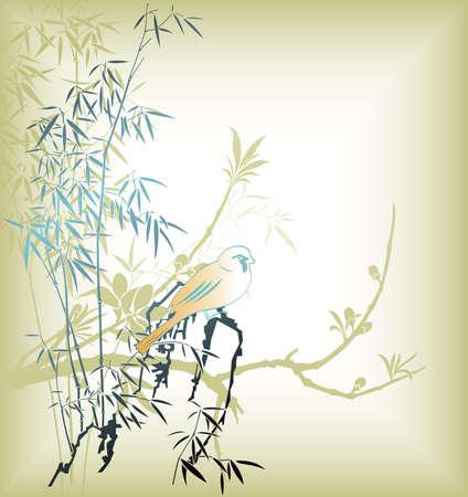 Feuille de bambou oriental et oiseaux 1