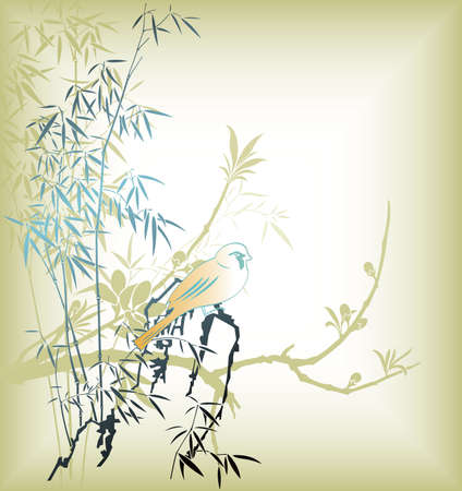 Oriental Bamboo Leaf and Bird 1 Vector