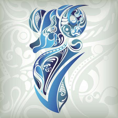 zodiac background: 12 Constellations ------- Aries Illustration