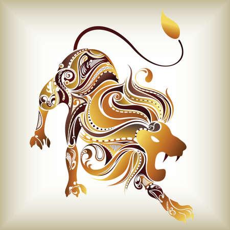 zodiac background: 12 Constellations ------- Leo Illustration